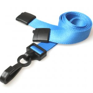 Lanyards 15 mm - Light Blue Lanyards with breakaway and plastic J clip – Pack of 100
