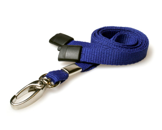 Lanyards Navy Blue - 10 mm Lanyards with breakaway and clip - Pack of 100