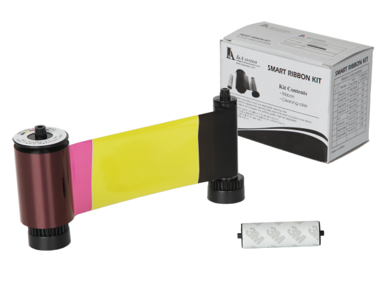 SMART 30/50 YMCKO FULL COLOUR PRINTER RIBBON WITH CLEANING ROLLER - 250 PRINTS