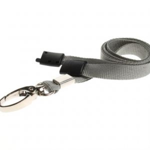 Lanyards Grey - 10 mm Lanyards with breakaway and clip - Pack of 100
